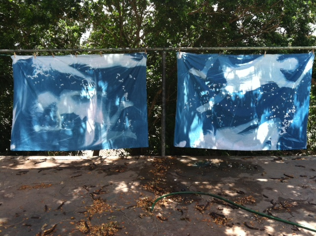 "large-scale cyanotypes on cotton for our artists-in-residence project, ""Blueprint"""